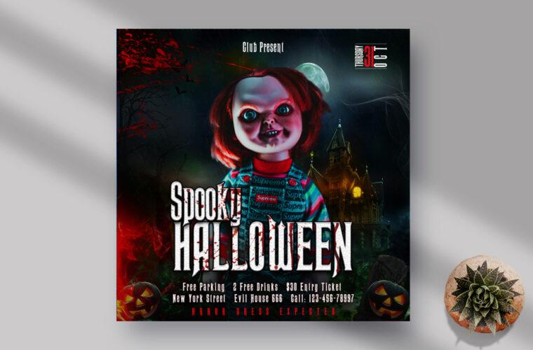 Spooky Halloween Night Instagram Banner PSD