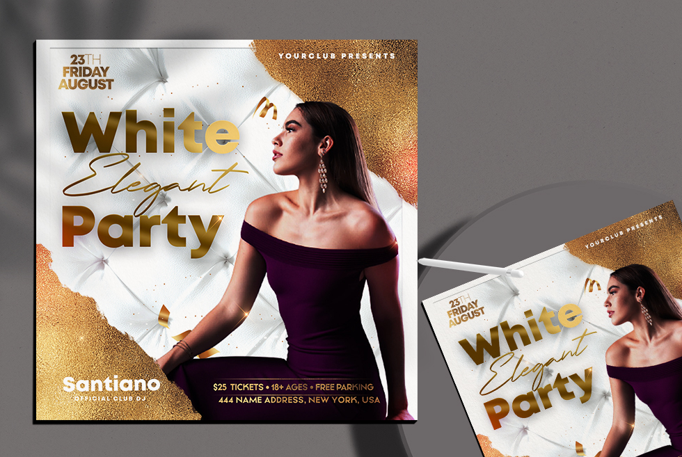 White Elegant Party Instagram Banner Free PSD Template