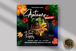 Autumn Dinner Instagram Banner PSD Template