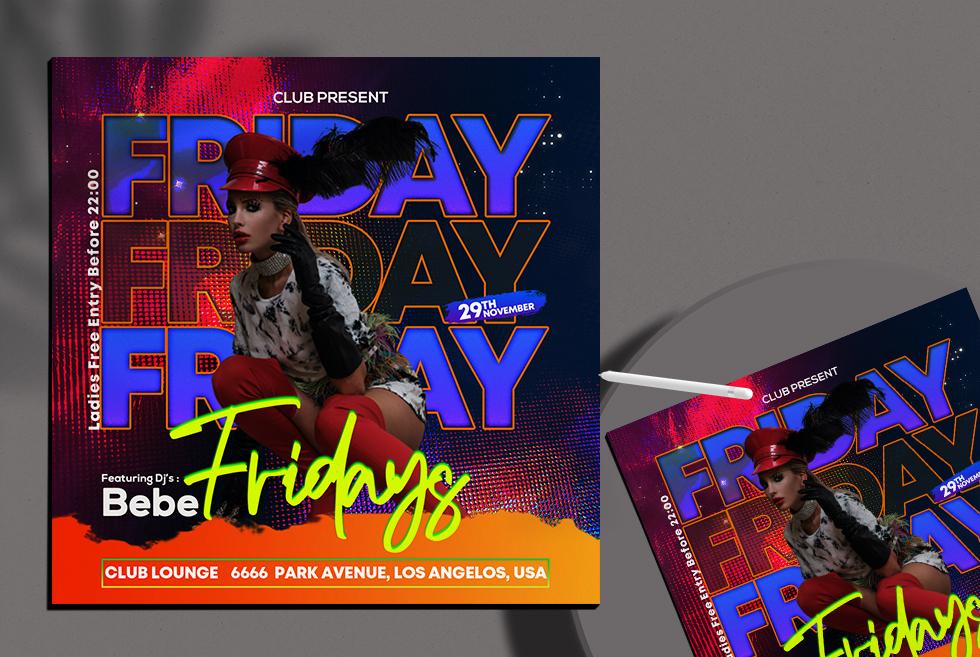 Friday Ladies Night Instagram Banner Free PSD