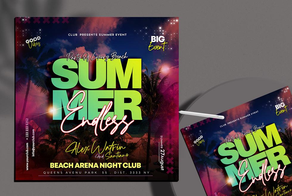Summer Endless Instagram Banner PSD Template