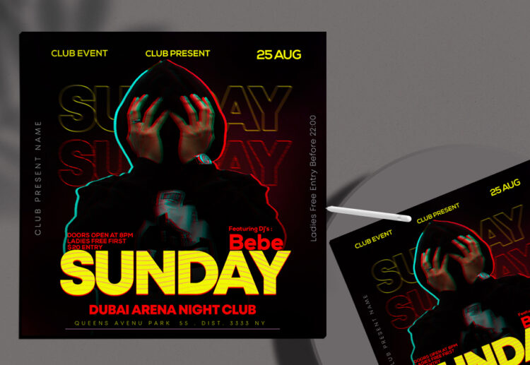 Sunday Event Night Free Instagram Banner PSD Template