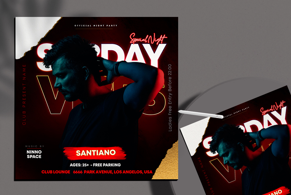 Sunday Vibes Free Instagram Banner PSD Template