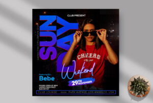 Sunday Weekend Party Instagram Banner PSD Template