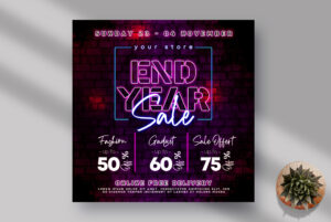 End Year Sale Instagram Banner PSD Template